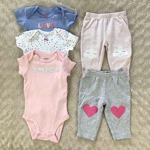 Carter's 3 Month Bodysuits & Pants Bundle Pink